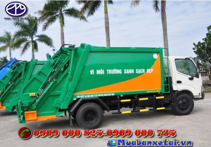 Mặt trước xe ép rác Hino 6 khối WU342L