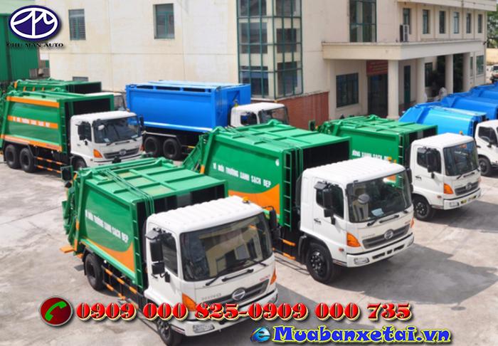 Toàn cảnh xe ép rác Hino 9 khối FC9JESW