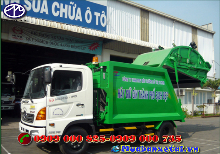 Nội thất xe ép rác Hino 9 khối FC9JESW