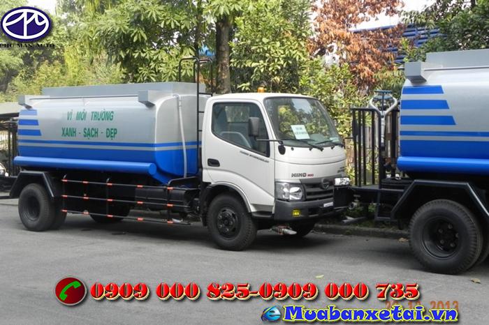Xe tưới nước rửa đường Hino 4 khối