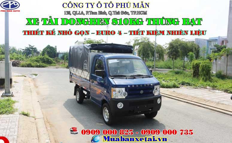 Xe tải Dongben 810kg - thùng mui bạt