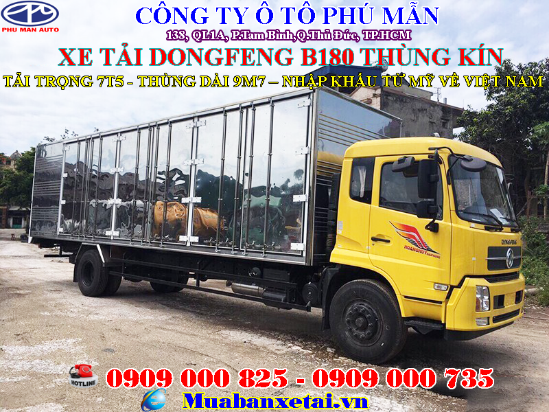 Xe tải dongfeng 8 tấn thùng kín dài 9m7