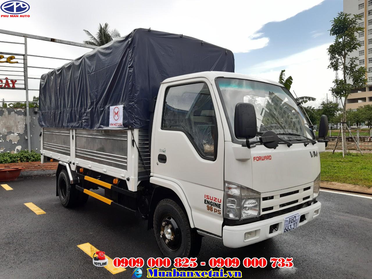 Xe tải isuzu 3.49 tấn thùng bạt